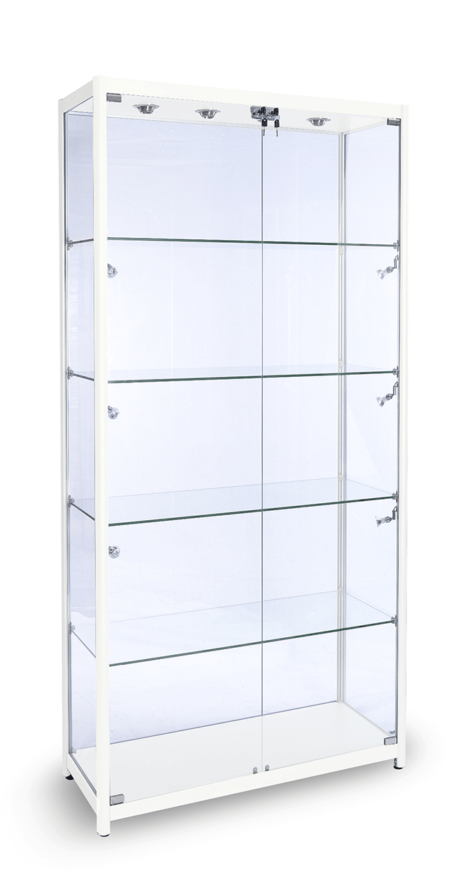 1000mm Gloss White Aluminium Gl Display Cabinet Led Ed Collections