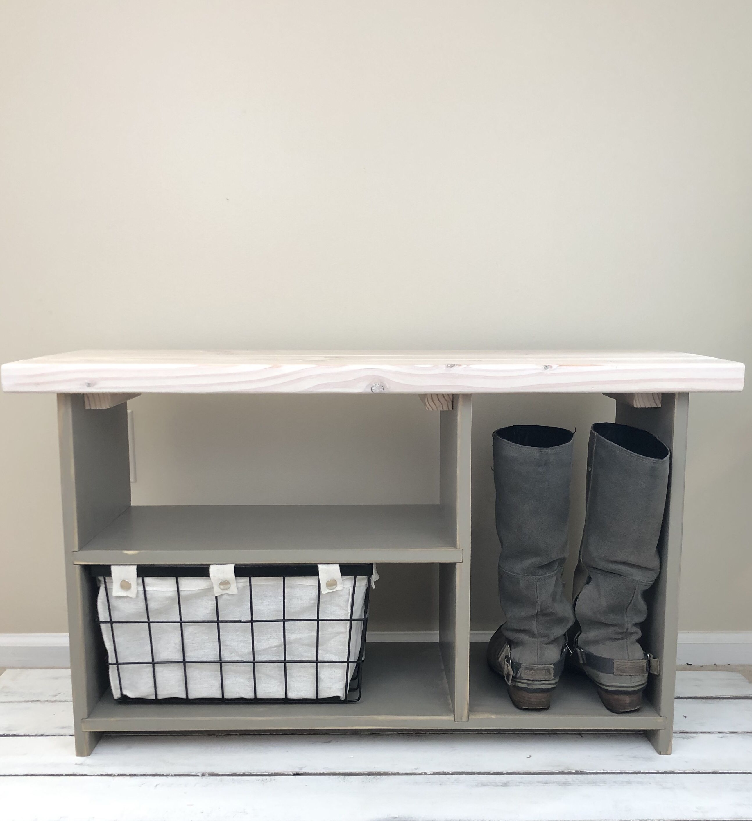 The Putnam Bench In Castle Grey And Antique White Bench With