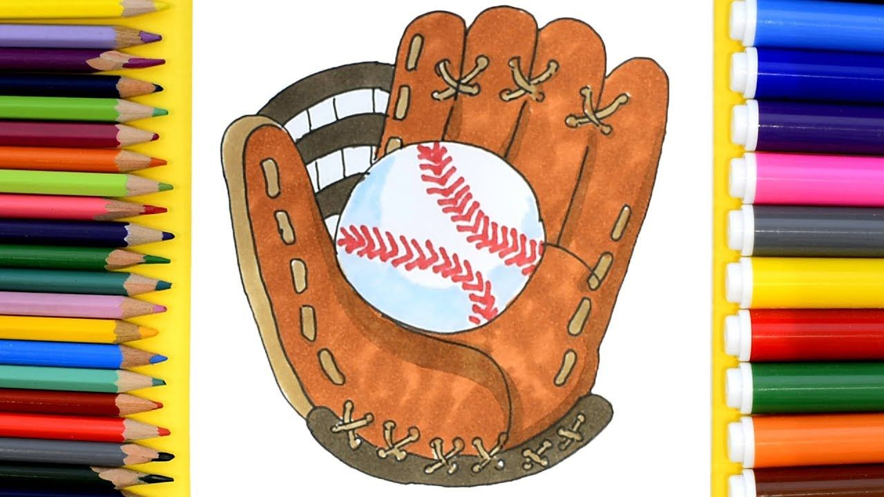 How To Draw Baseball Glove Coloring Pages For Kids To Learn Colors Coloring Pages For Kids Drawings Learning Colors