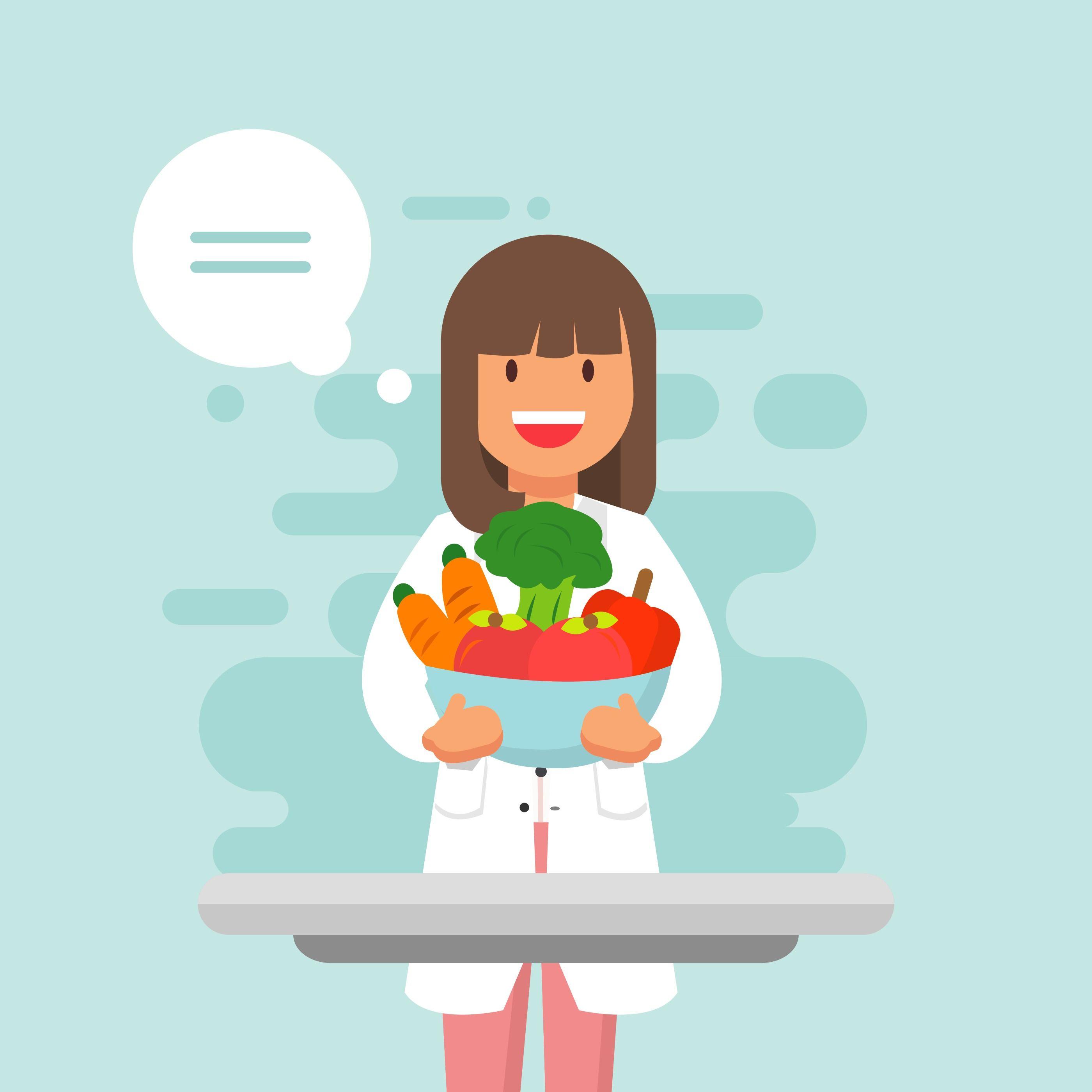 Photo of Ilustración de Vector nutricionista alegre