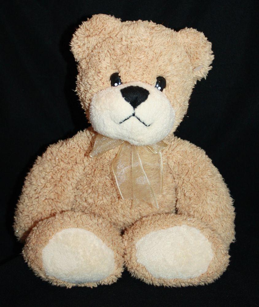 Skm Plush Teddy Bear Tan Gold Sparkle Cream 12 Bow Stuffed Animal Toy Bow Soft Skmenterprises Pet Toys Teddy Bear Plush Fur Real Friends [ 1000 x 844 Pixel ]