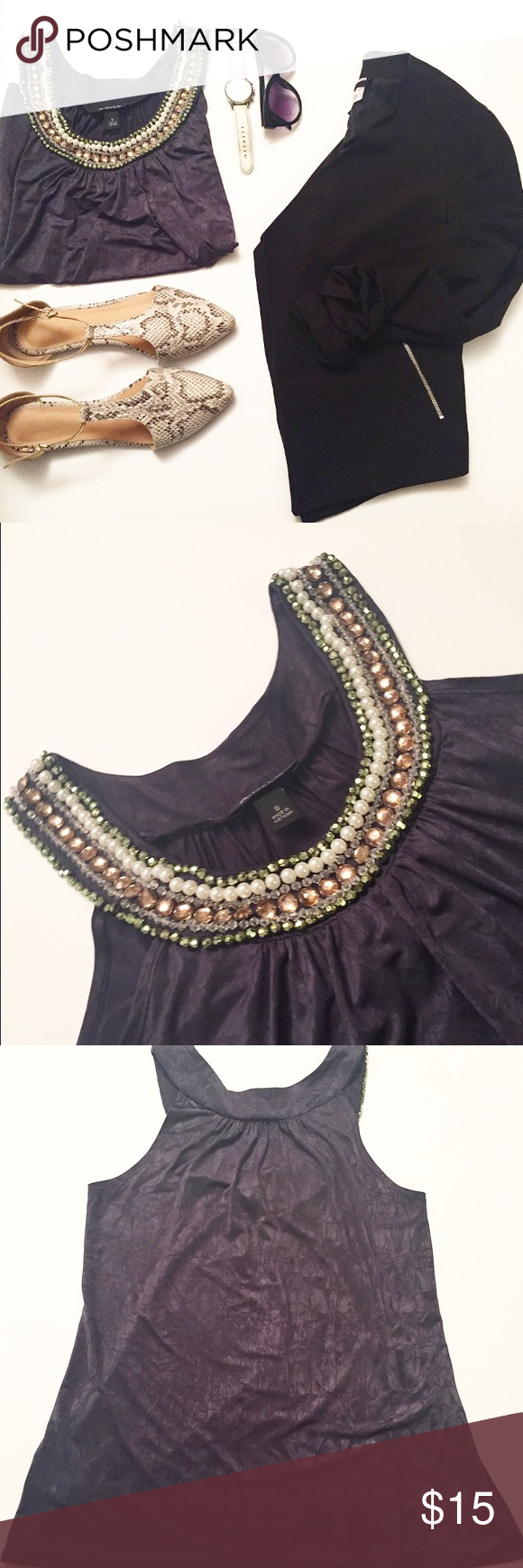 Beaded collar top Grey beaded top. Like new, only earn a few times. Beads all intact. Tops Tank Tops