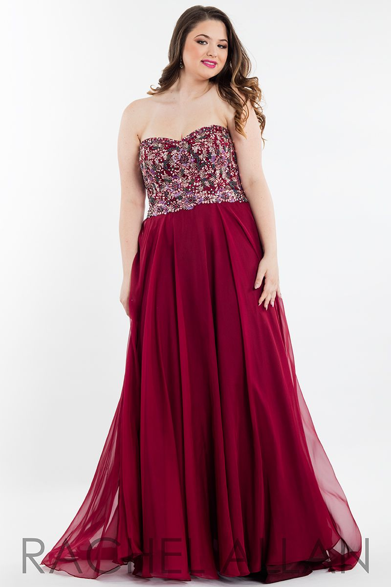 Plus size strapless fully floral embellished aline chiffon prom