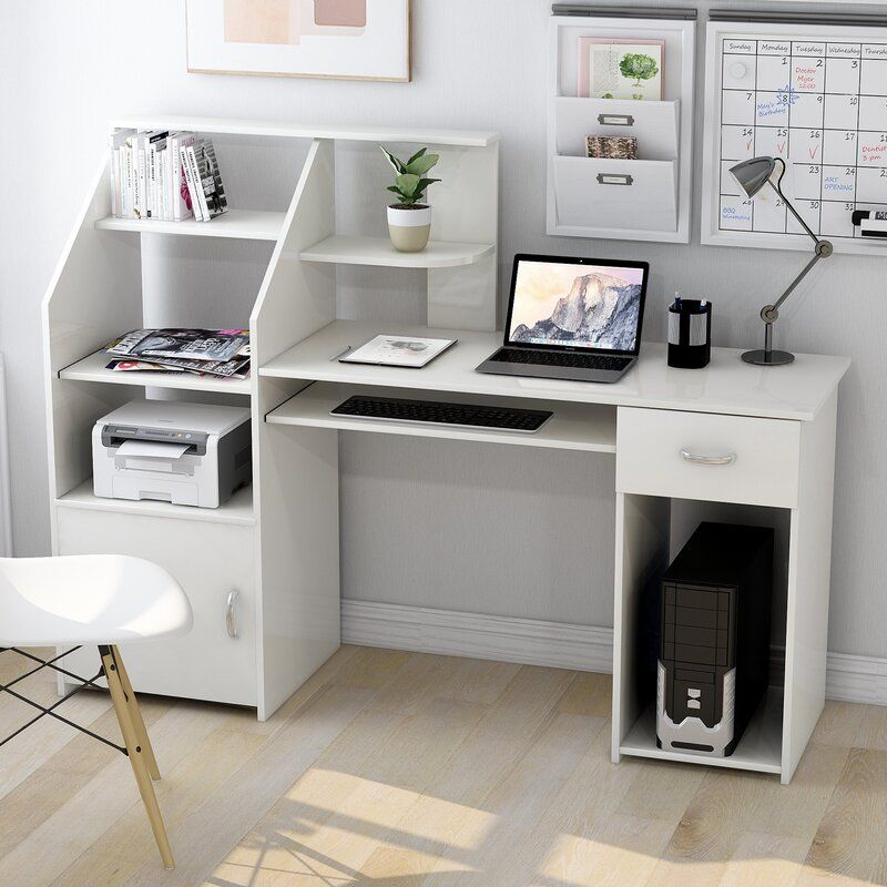 Latitude Run Anas Computer Desk Reviews Wayfair Ca In 2021 White Desk Bedroom Desk In Living Room Dorm Room Inspiration