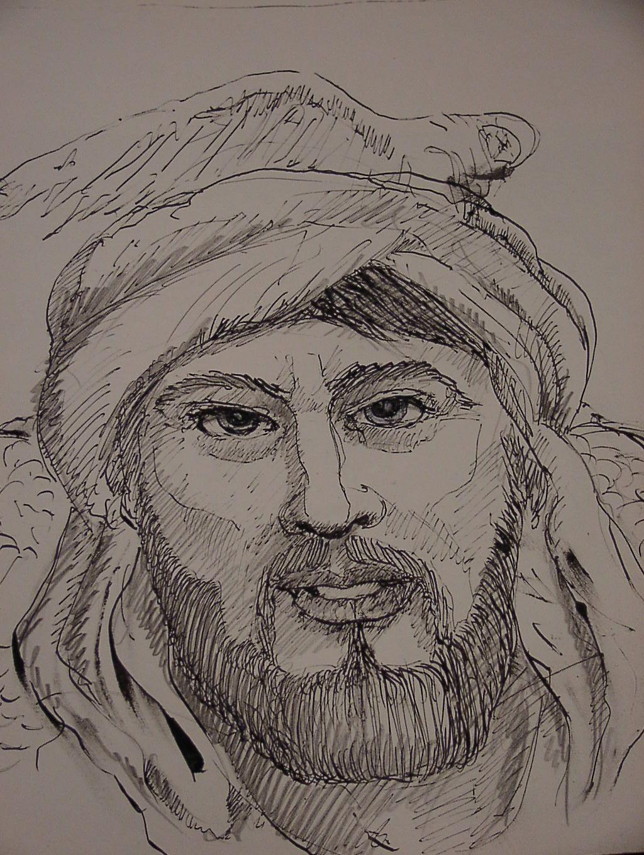 """""""Ibrahim"""", Illustrtion aus dem Roman """"Goldbart"""" von Hanns Schuschnig, gezeichnet von Emo Schuschnig"""