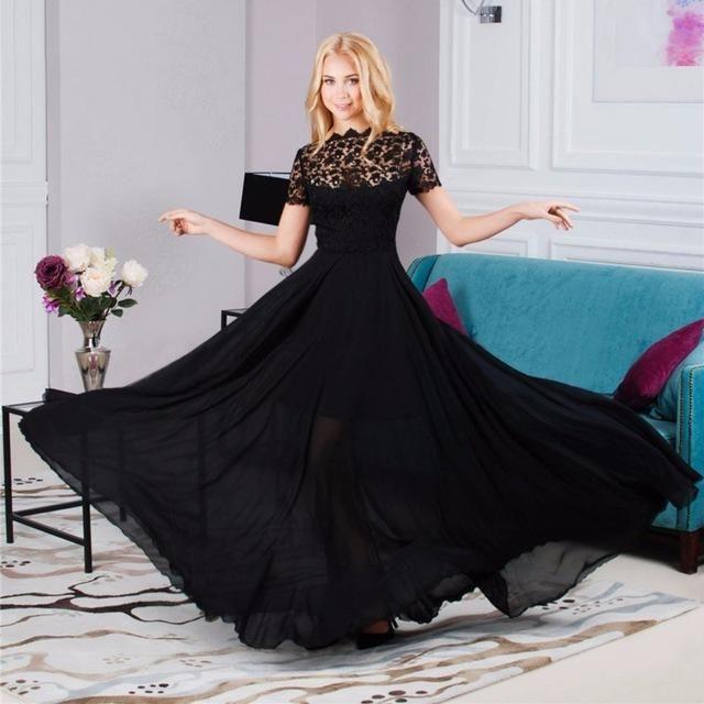 2e097ddfa956 Women Summer Sexy Formal Short Sleeve Elegant Floral Black Lace Perspective  Dress Party Long Maxi Dress