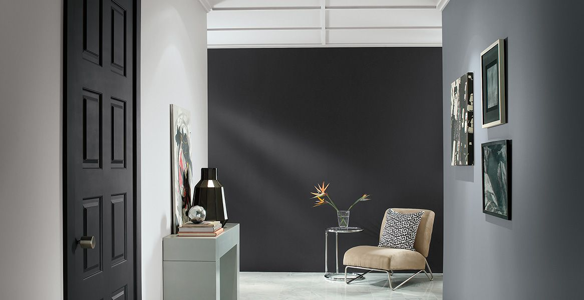 Colors shown here are from Behr Paint  Silverstone  Satin Black  Elemental  Gray and Black Boudoir. BEHR Paint Colors  Planetary Silver N460 2  Dark Pewter PPU18 04