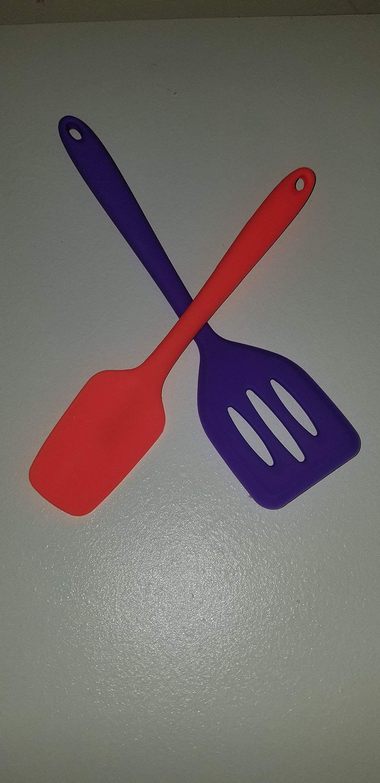 Core Kitchen 2pc Set Of Silicone Mini Utensil Set Orange Allpurpose Spatula And Purple Slotted Turner Visit The