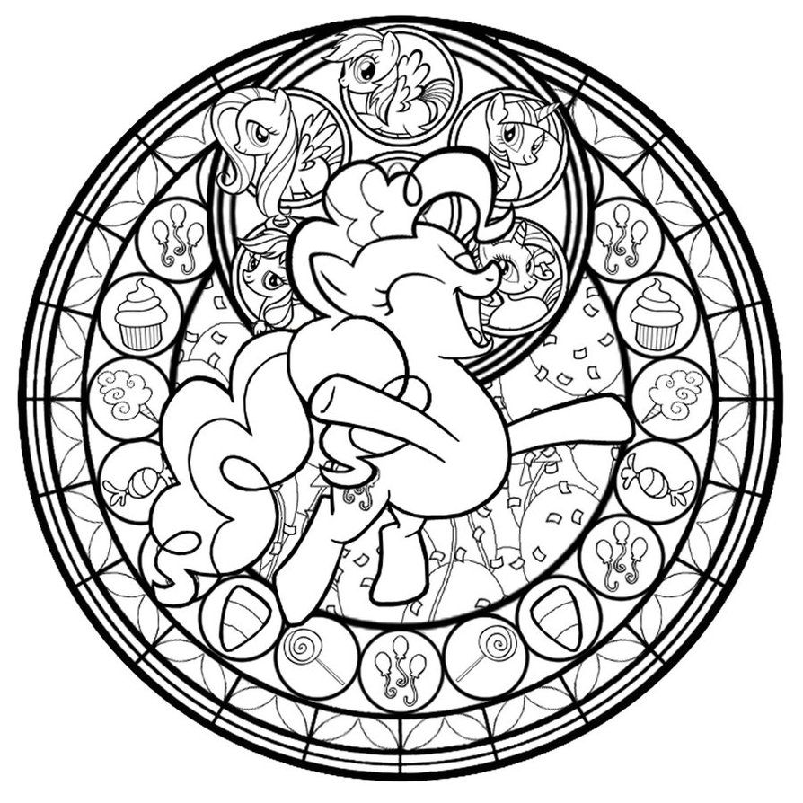 Pinkie Pie Stained Glass Line Art Coloring SheetsAdult