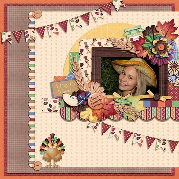 Layout using {Thankful For...} Digital Scrapbook Kit by Jocee Designs available at The Digichick http://www.thedigichick.com/shop/Thankful-For...-Collection.html #joceedesigns