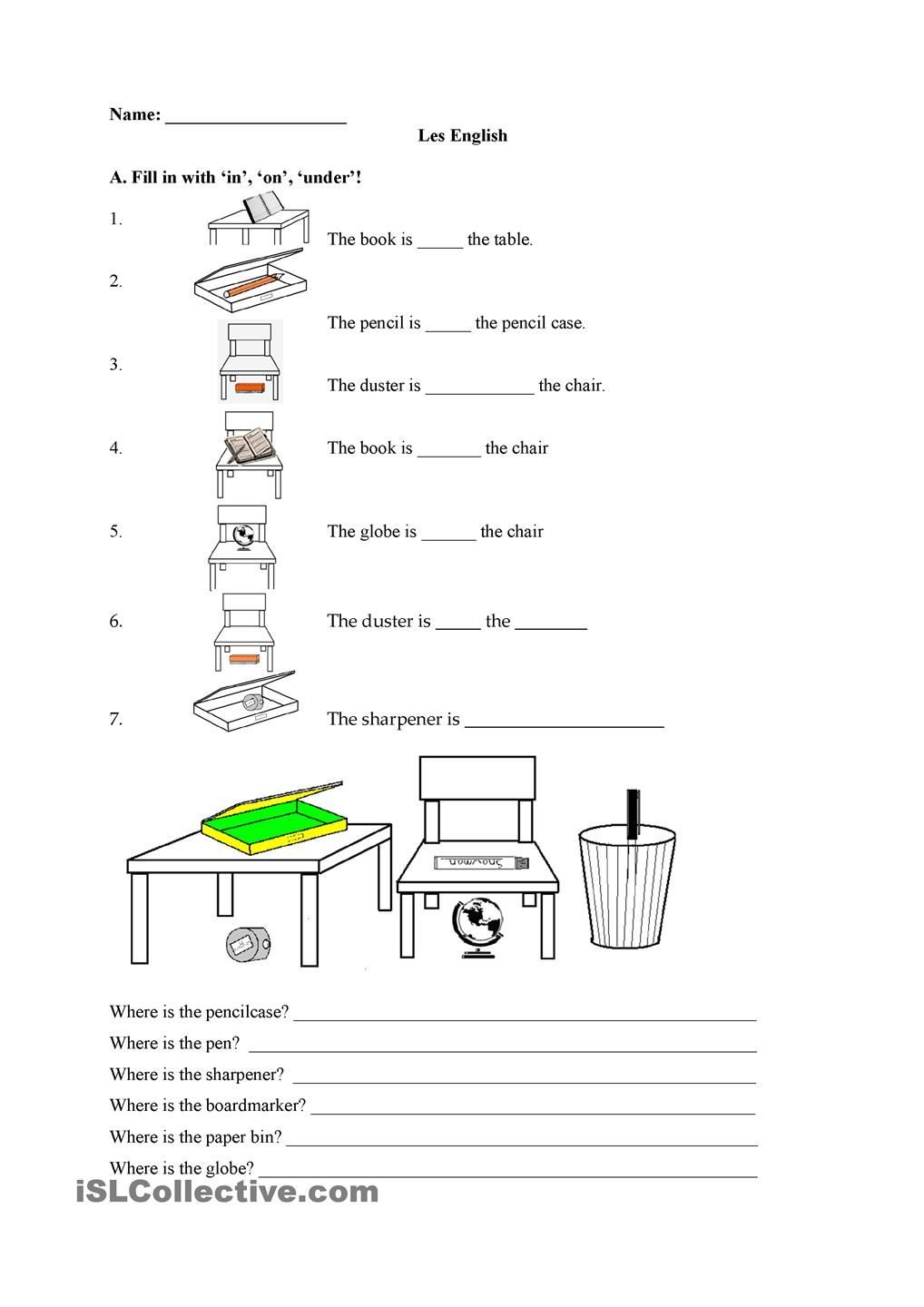 In On Under English Worksheets For Kids English Grammar Worksheets Addition Words [ 1440 x 1018 Pixel ]