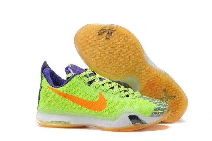 buy popular 19fce 88178 Mens Nike Kobe 10 Volt Purple White Basketball Shoes