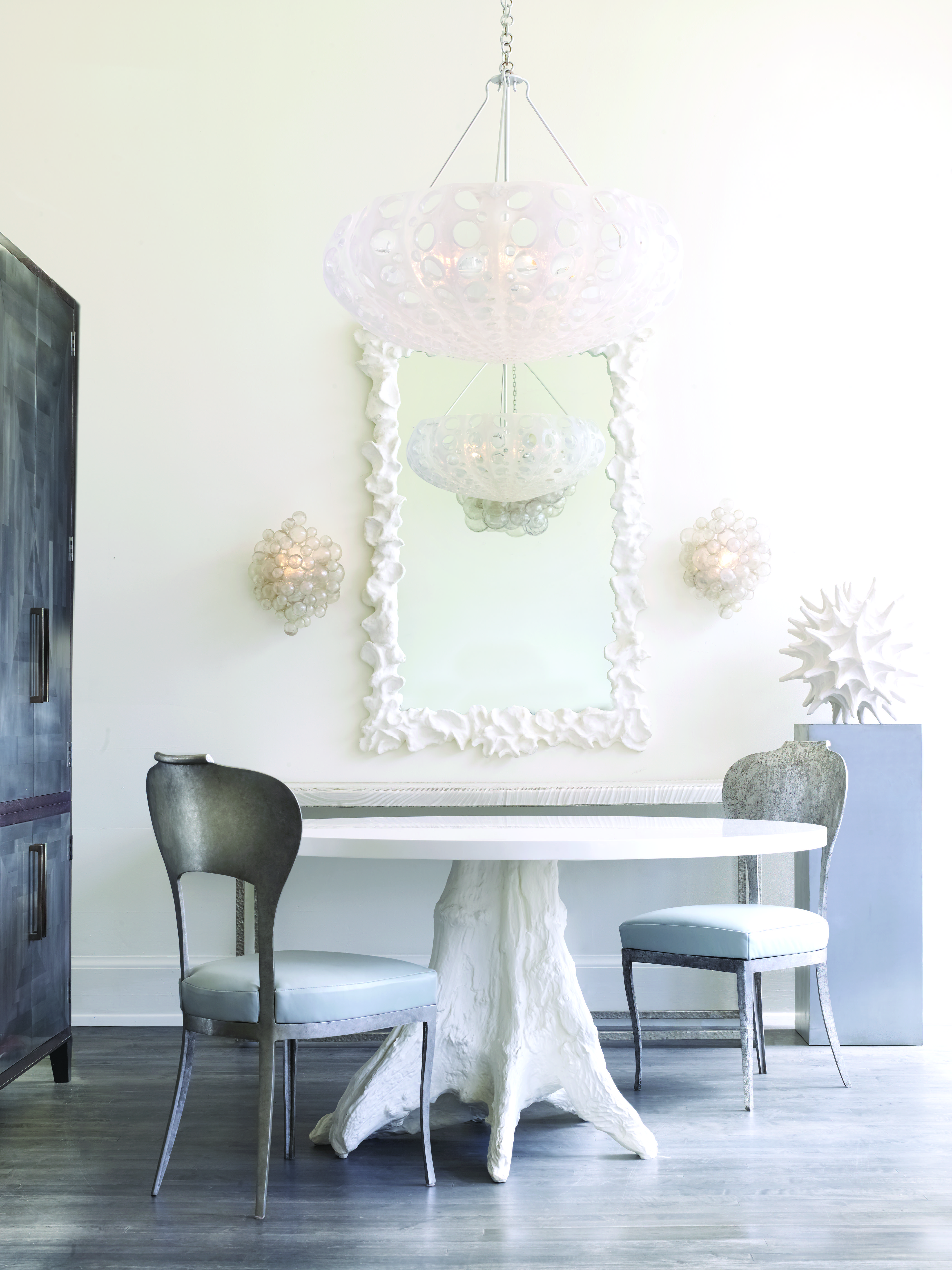 Oly Studio Beck Dining Table In Solid White Cast Resin, Beverly Side Chairs  In Antiqued