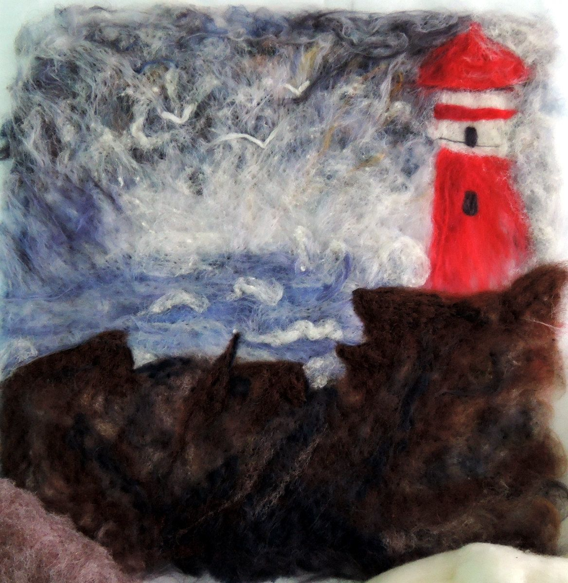 Wool painting wall hanging fiber art birthday congratulations wall hanging fiber art birthday congratulations 3d textured art lighthouse ocean sea bird stone cliff sciox Image collections