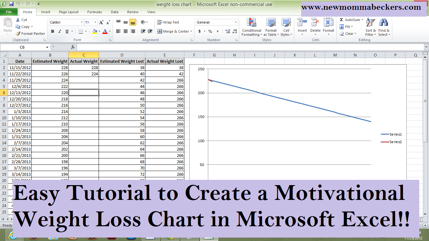 Tutorial For Creating Motivational Weight Loss Chart In Microsoft