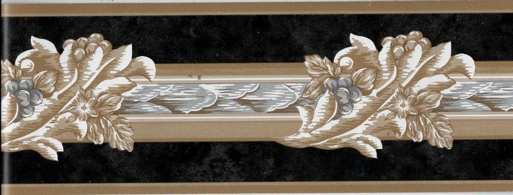 Best Victorian Architectural Tan Leaf Scroll On Black Wallpaper 400 x 300