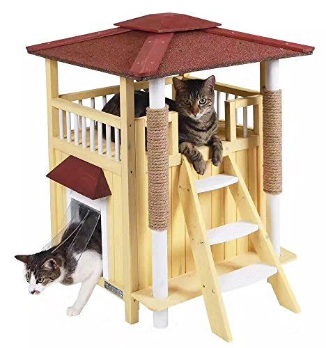 Cat Tree Jaxpety Indoor Cat House Outdoor Shelter Roof Cat Condo Wood Steps Balcony Puppy Stairs Cat Tree Idea Outdoor Cat House Cat Condo Cat Houses Indoor