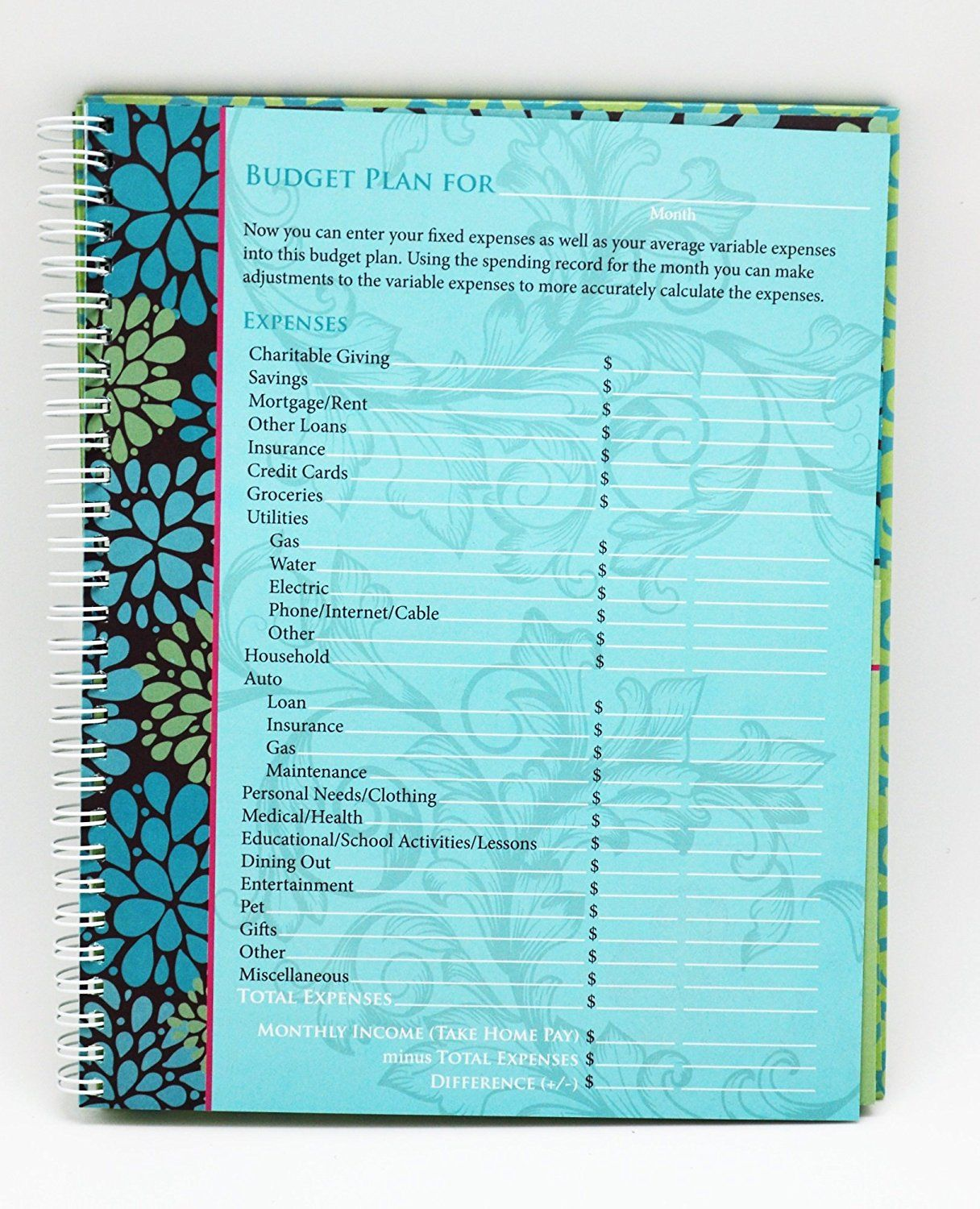 Amazon Com Monthly Bill Paying Organizer Hard Cover Budget Book