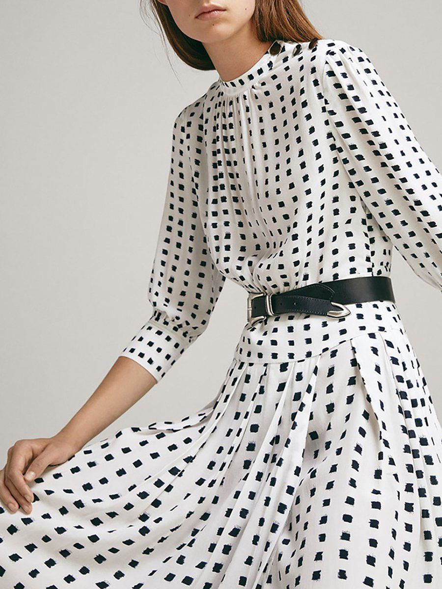 Stand Collar White Polka Dots A Line Daily Cotton Midi Dress Long Sleeve Dress Casual Summer Dresses Dresses [ 1200 x 900 Pixel ]