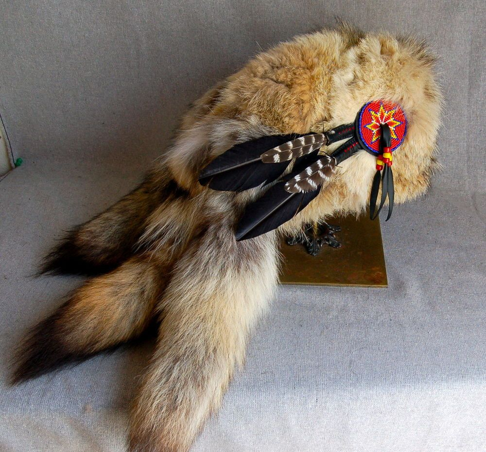 3 tail Mountain Man Coyote fur Hat FCF Black Powder Rendezvous Buckskinner 6c8c3b245966