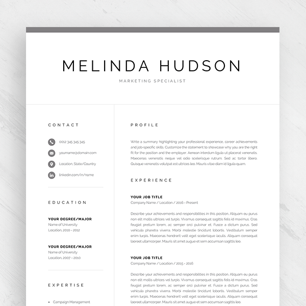 modern resume template for word  u0026 mac pages