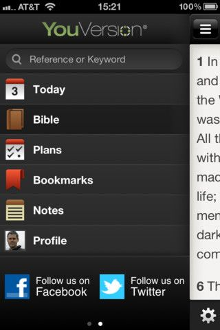 Reading my Bible on the YouVersion Bible app on my iPhone