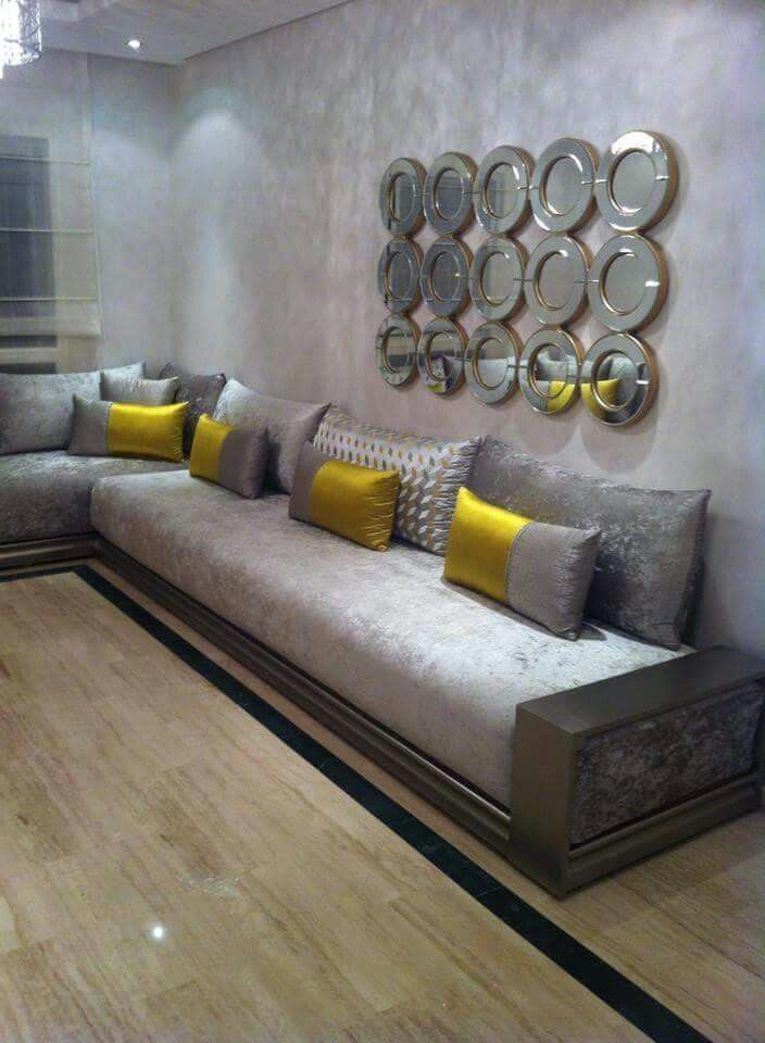 Charmant Salon Gris Jaune   #decoracion #homedecor #muebles
