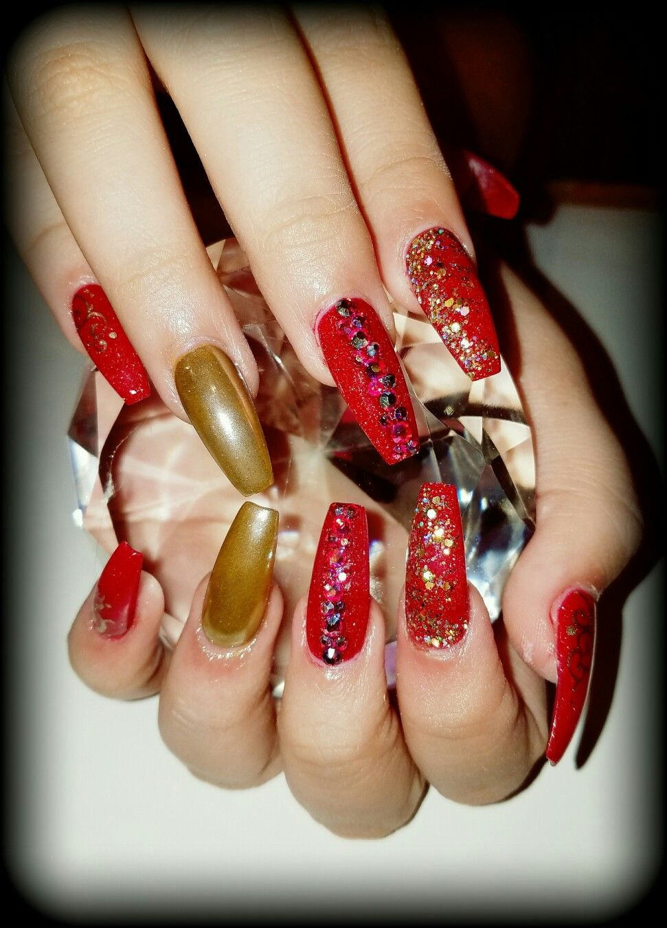 Red and gold chrome coffin nails