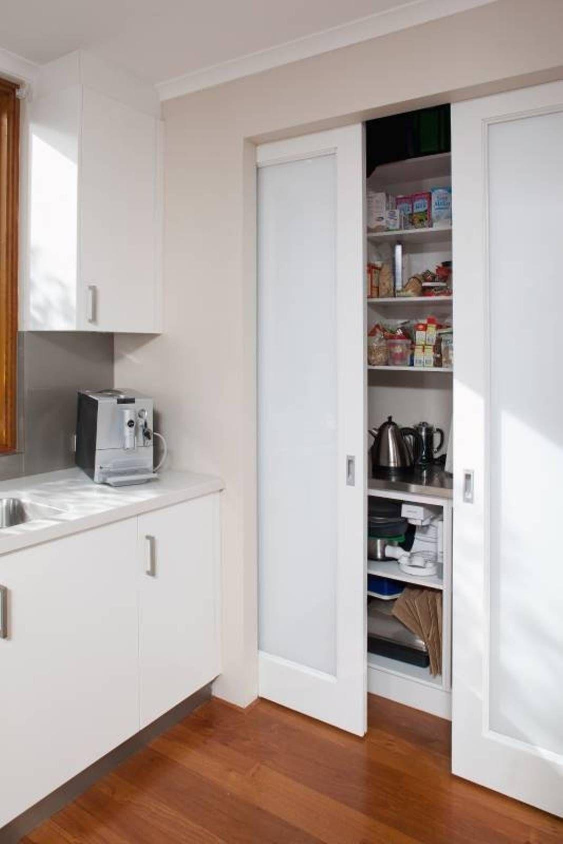 Kitchen , Kitchen Sliding Door For Pantry : Pocket White Kitchen ...
