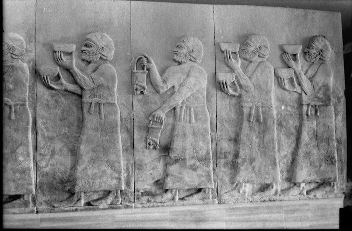 Four Neo-Assyrian relief slabs representing tribute-bearers from Urartu, from Dur Sharrukin (Khorsabad); 721-705 B.C.