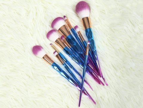 rainbow unicorn brushes  7 pieces set  makeup brush set