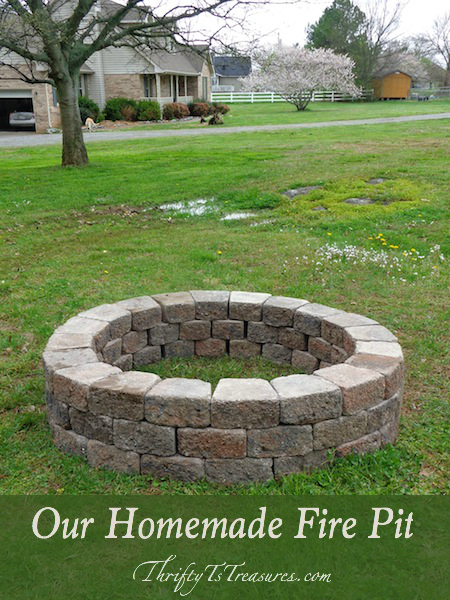 our homemade fire pit thrifty thursday lwsl outdoor fireplace designs fire pit backyard. Black Bedroom Furniture Sets. Home Design Ideas