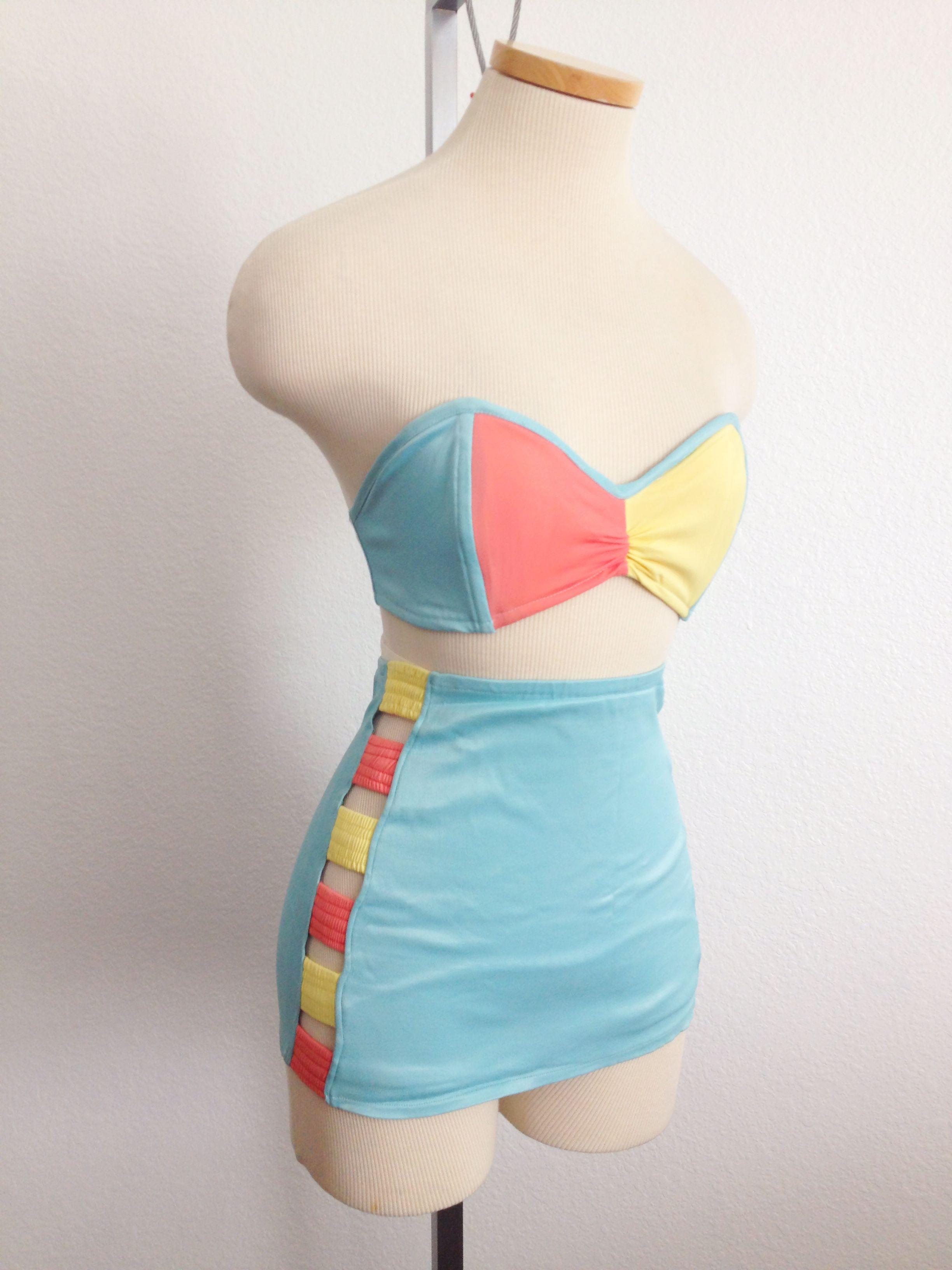 Vintage 1940s Color Block Swag Dress: 1940s Color Block Hip Cutout Bikini