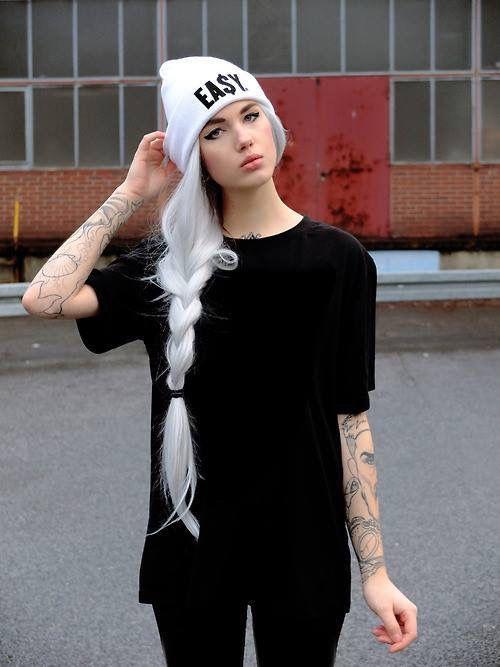 cool girl, model, skate girl, tatoo, white hair, something on head