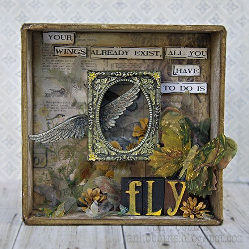 """Jan Hobbins: """"Fly"""" Shadowbox for A Vintage Journey"""