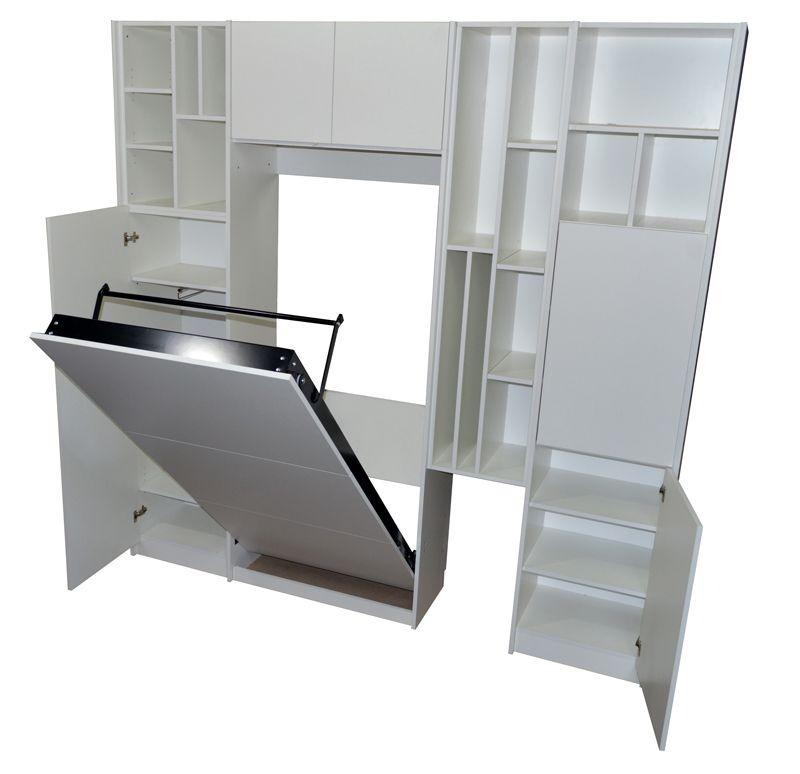 Mueble cama plegable rebatible en melamina blanca para - Muebles con cama plegable ...