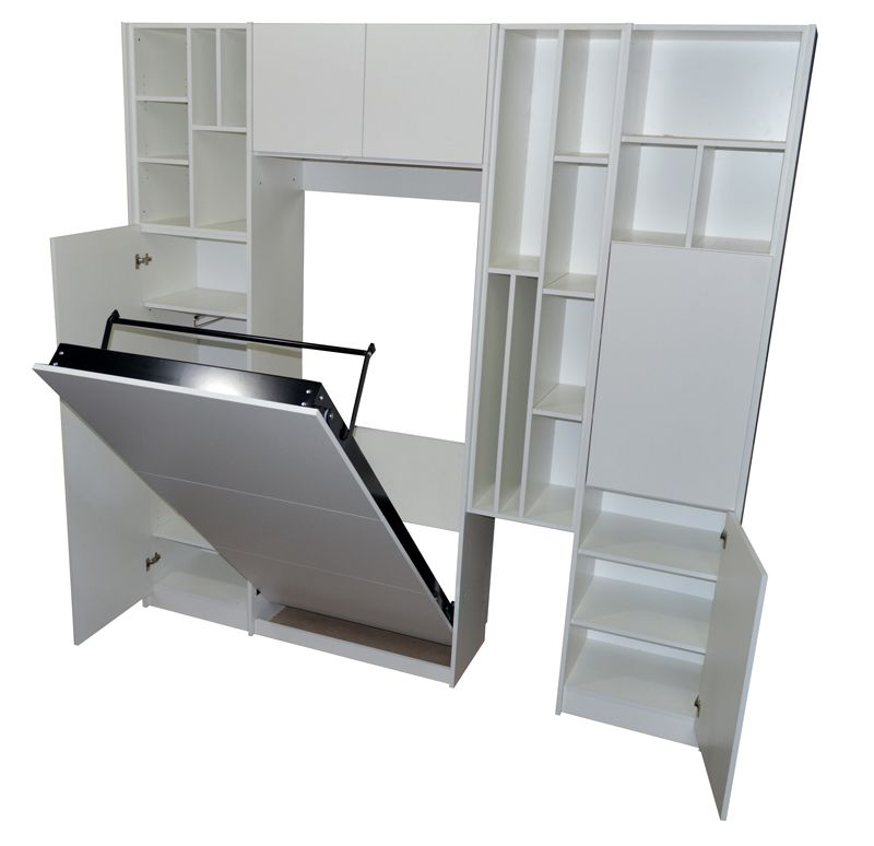 Mueble cama plegable rebatible en melamina blanca para colchón 1 ...