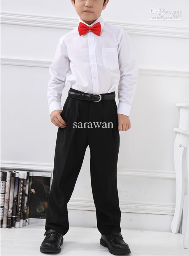 boys - red bow tie- white shirts (rolled sleeves)- black pants ...