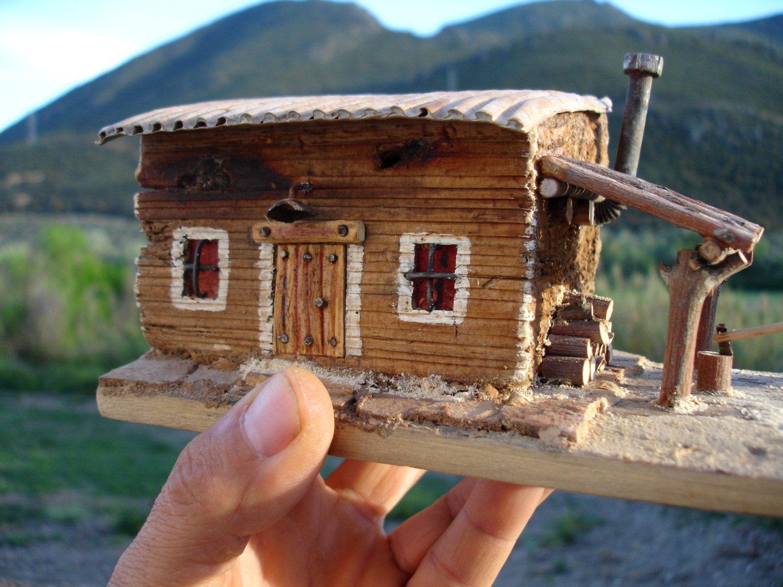 1 House Pallet Recycled Wood Mini Casas De Madera Artesanias De Madera Flotante Casas De Carton
