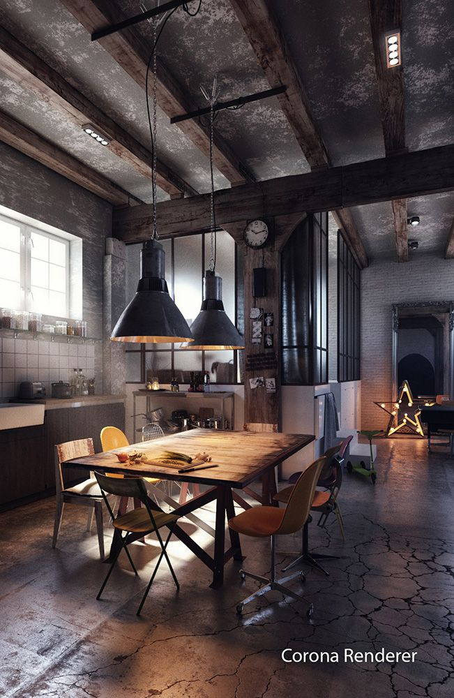 Very Industrial Loft House Design Industrial Style Interior