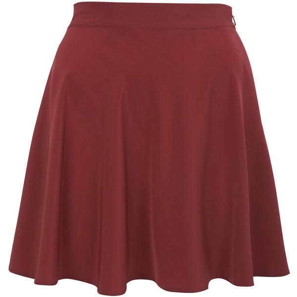 Burgundy Flippy Skater Skirt ($26) ❤ liked on Polyvore featuring skirts, mini skirts, bottoms, saias, bottoms - skirts, short skirts, short red skirt, skater skirts, red mini skirt and miss selfridge