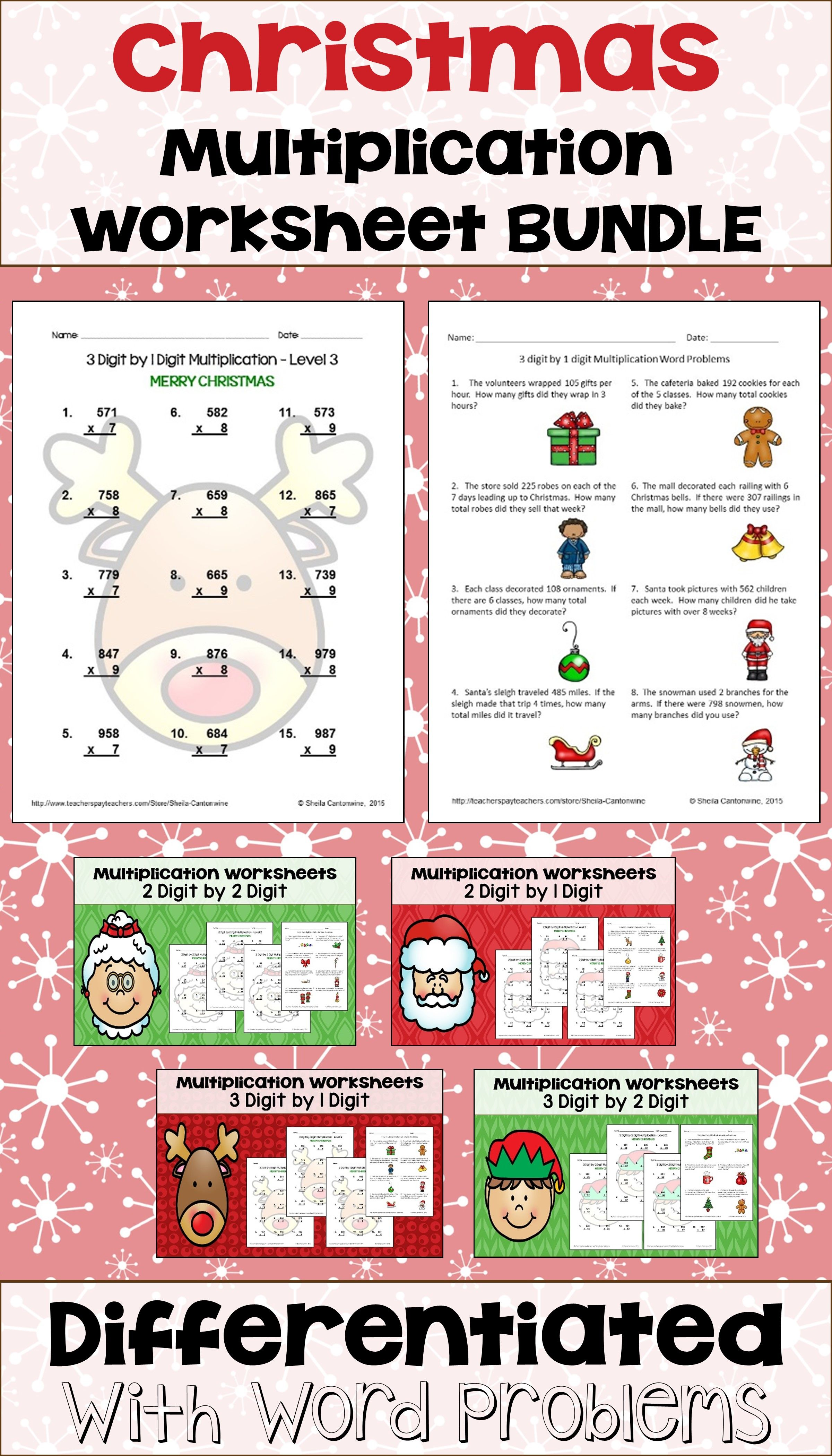 Christmas Multiplication Worksheet Bundle With Word