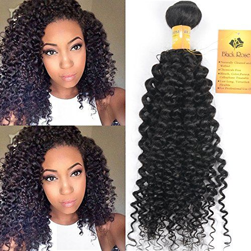 Black Rose Hair 16 Inch Indian Jerry Curl Weave Human Hair