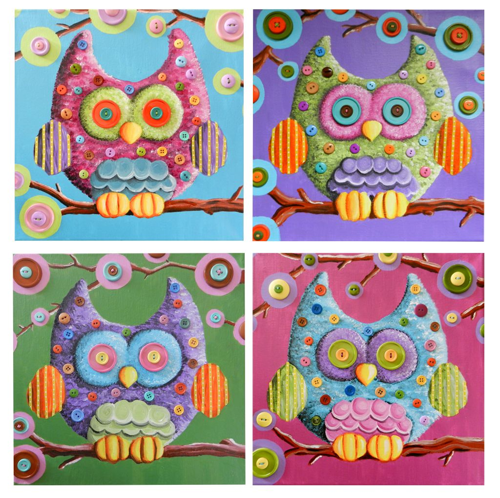 Four owl paintings done in acrylic with lots of buttons