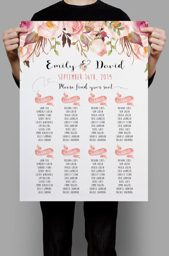 personalized wedding seating chart table seating plan printable pink