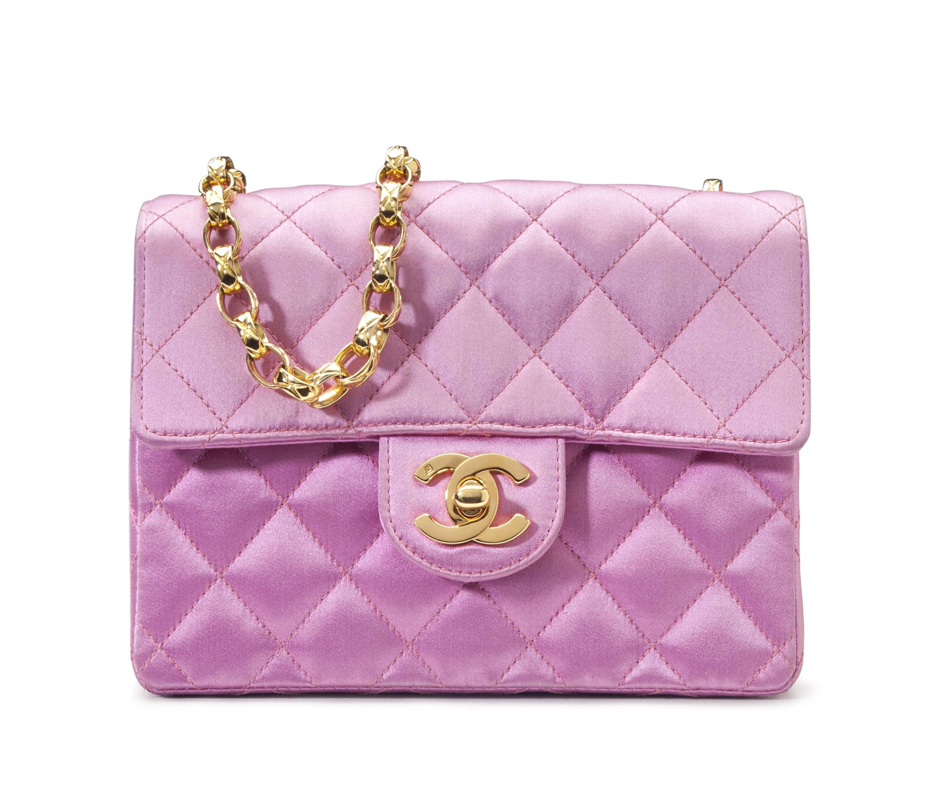 A Pink Satin Mini Flap Bag