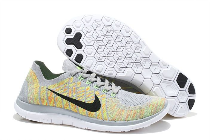 huge discount cccb4 65bd9 Nike Free Flyknit 4.0 Claire Jaune Chaussures De Running Blanc Noir, EUR  €93.28