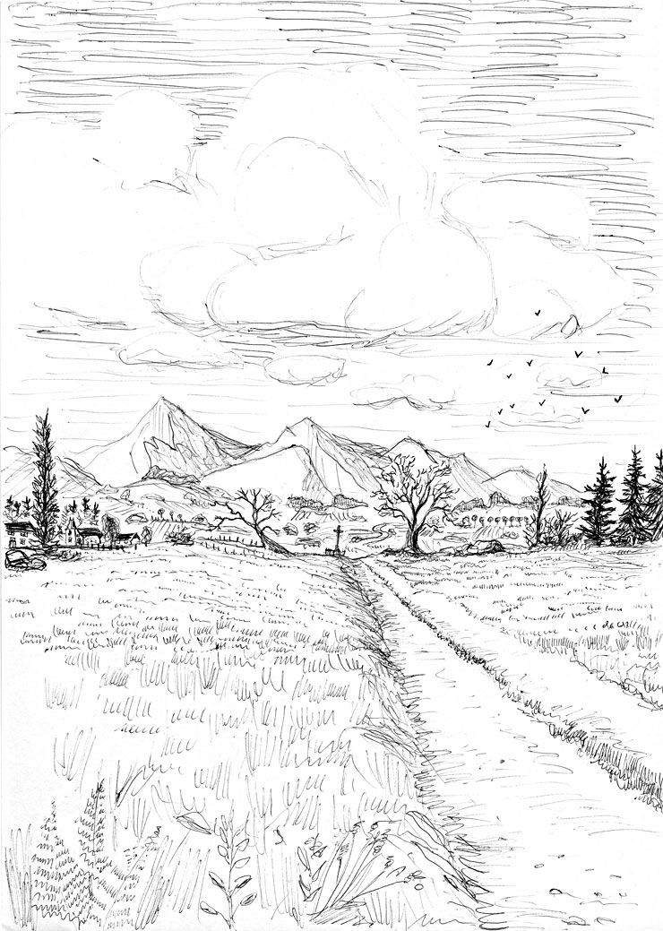 Dessin de paysage 159 cliquez pour imprimer arts - Dessin a colorier paysage ...