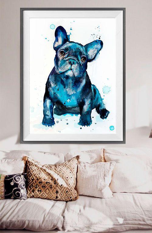 French Bulldog watercolor painting print French от SlaviART