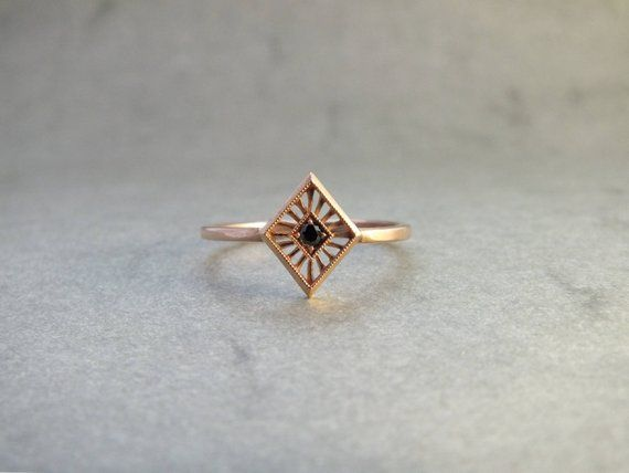 Photo of Art deco solitaire ring in 18 carat gold with black diamond – solitaire ring -…